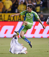 CARSON, CA – NOVEMBER 7: Seattle Sounders defender Leo Gonzalez (19) during a playoff soccer match at the Home Depot Center, November 7, 2010 in Carson, California. Final score LA Galaxy 2, Seattle Sounders 1.