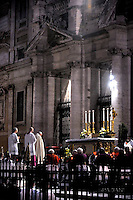 Pope Francis during a Corpus Domini procession between the basilicas San Giovanni in Laterano and Santa Maria Maggiore on in Rome.26 May 2016
