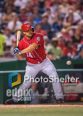 23 July 2016: Washington Nationals outfielder Chris Heisey pinch hits against the San Diego Padres at Nationals Park in Washington, DC. The Nationals defeated the Padres 3-2 to tie their series at one game apiece. Mandatory Credit: Ed Wolfstein Photo *** RAW (NEF) Image File Available ***