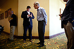"Republican presidential candidate Rep. Ron Paul waits to be introduced at a ""meet and greet"" campaign event in Cedar Rapids, Iowa, July 25, 2011."