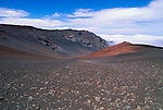 Lava field and cinder cone along the Sliding Sands Trail in Haleakala Crater, Haleakala National Park, Island of Maui, Hawaii