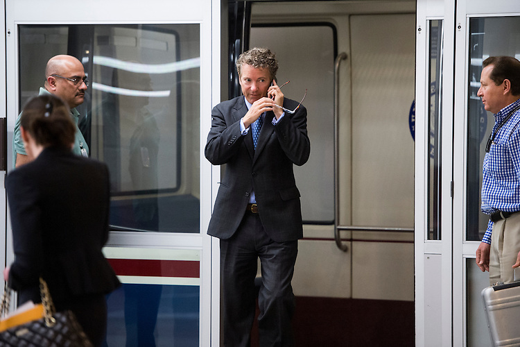 UNITED STATES - APRIL 8: Sen. Rand Paul, R-Ky., arrives in the Capitol for the weekly policy luncheons on Tuesday, April 8, 2014. (Photo By Bill Clark/CQ Roll Call)
