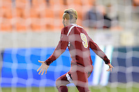 Houston, TX - Friday December 9, 2016: Andre Shinyashiki (9) of the Denver Pioneers celebrates his goal against the Wake Forest Demon Deacons at the NCAA Men's Soccer Semifinals at BBVA Compass Stadium in Houston Texas.