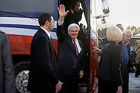 Former Speaker of the House Newt Gingrich arrives for a town hall meeting in Lancaster, New Hampshire.  Gingrich is seeking the 2012 Republican nomination for president.