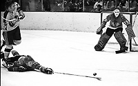 Seals vs BlackHawks: Seals Hilliard Graves and Hawks .#3 Keith Magnuson and goalie Tony Esposito..(1971 photo by Ron Riesterer)