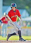 8 July 2012: State College Spikes outfielder Walker Gourley in action against the Vermont Lake Monsters at Centennial Field in Burlington, Vermont. The Spikes fell to the Lake Monsters 8-2 in NY Penn League action. Mandatory Credit: Ed Wolfstein Photo