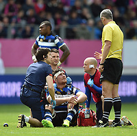 Francois Louw of Bath Rugby speaks to referee John Lacey after taking a knock. European Rugby Challenge Cup Semi Final, between Stade Francais and Bath Rugby on April 23, 2017 at the Stade Jean-Bouin in Paris, France. Photo by: Patrick Khachfe / Onside Images