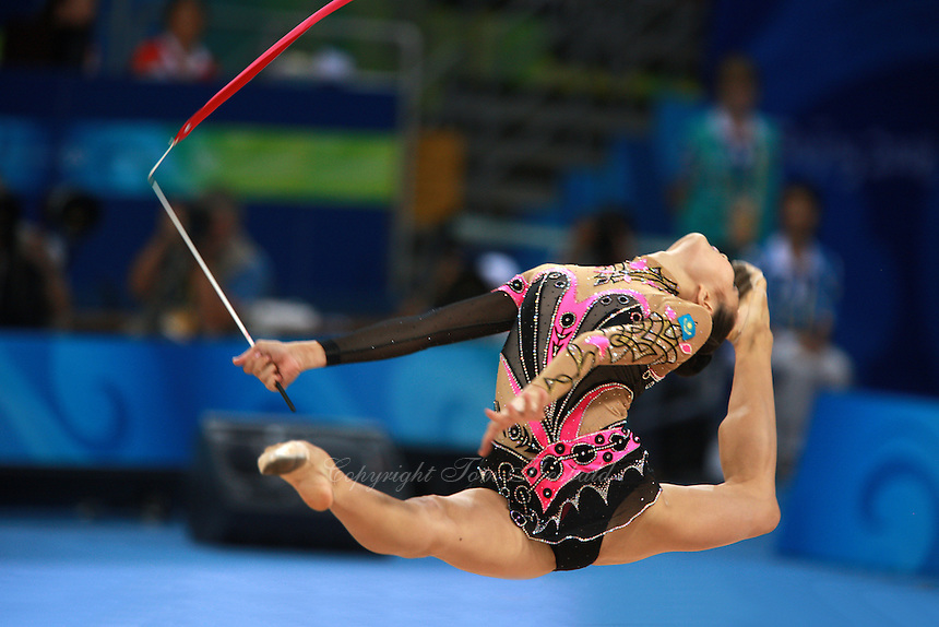 August 23, 2008; Beijing, China; Rhythmic gymnast Aliya Yussupova of Kazakhstan split leaps with ribbon on way to placing 5th in the All-Around final at 2008 Beijing Olympics..Photo note: Re-upload 2nd version.