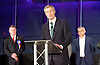 Mayor of London and London Assembly results announcement at City Hall, London, Great Britain <br /> 6th May 2016 <br /> <br /> <br /> <br /> Paul Golding - Britain First <br /> <br /> Zac Goldsmith - Conservative<br /> <br /> <br /> <br /> Sadiq Khan - Labour <br /> <br /> <br /> The winner was Sadiq Khan who is appointed the new mayor of London <br /> <br /> <br /> <br /> Photograph by Elliott Franks <br /> Image licensed to Elliott Franks Photography Services