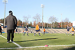 16 November 2012: Georgetown head coach Dave Nolan (left) watches warmups. The Baylor University Bears played the Georgetown University Hoyas at Fetzer Field in Chapel Hill, North Carolina in a 2012 NCAA Division I Women's Soccer Tournament Second Round game. Baylor won the game 2-1 in overtime.