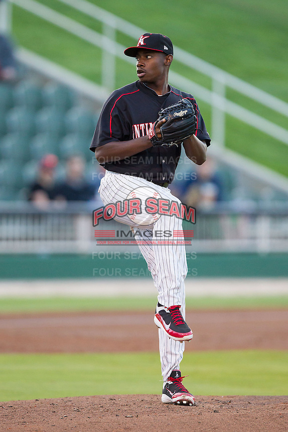 Kannapolis Intimidators starting pitcher Andre Wheeler (31) in action against the West Virginia Power at CMC-Northeast Stadium on April 17, 2014 in Kannapolis, North Carolina.  The Power defeated the Intimidators 4-3.  (Brian Westerholt/Four Seam Images)