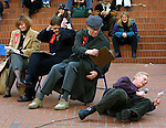 A contestant goes to the brick at the Pioneer Courthouse Square while performing for judges hoping to get a chance to sing for Burt Bacharach soon to visit the city.