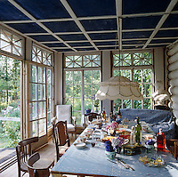Glassed-in porch at the Dacha Belousov in the countryside outside Moscow