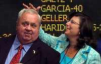 TALLAHASSEE, FL. 5/2/08-Sen. Jim King, R-Jacksonville, left, gets some help with his hair from Sen. Paula Dockery, R-Lakeland, during the final day of the legislative session, Friday at the Capitol in Tallahassee. COLIN HACKLEY PHOTO