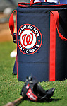 19 February 2011: A Washington Nationals Ball Bag rests on the turf during Spring Training at the Carl Barger Baseball Complex in Viera, Florida. Mandatory Credit: Ed Wolfstein Photo