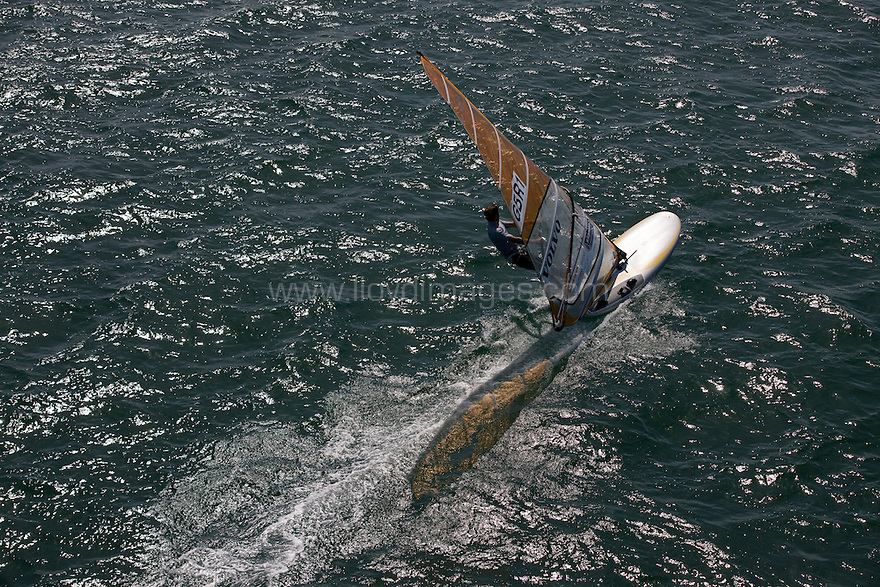 Pictures of the Volvo RS-X windsurfer Nick Dempsey training in Weymouth, UK.Credit: Lloyd Images.