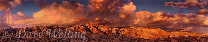 902000006 panoramic view of sunrise lighting up clearing storm clouds and the eastern sierras mountain range from the alabama hills blm protected lands in kern county california