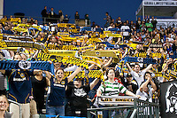 CARSON, CA – August 20, 2011: LA Galaxy fans during the match between LA Galaxy and San Jose Earthquakes at the Home Depot Center in Carson, California. Final score LA Galaxy 2, San Jose Earthquakes 0.