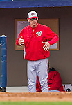 7 March 2015: Washington Nationals Manager Matt Williams gives signals from the dugout during Spring Training action against the St. Louis Cardinals at Space Coast Stadium in Viera, Florida. The Nationals rallied to defeat the Cardinals 6-5 in Grapefruit League play. Mandatory Credit: Ed Wolfstein Photo *** RAW (NEF) Image File Available ***