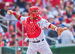 15 June 2016: Washington Nationals catcher Wilson Ramos in action against the Chicago Cubs at Nationals Park in Washington, DC. The Nationals defeated the Cubs 5-4 in 12 innings to take the rubber match of their 3-game series. Mandatory Credit: Ed Wolfstein Photo *** RAW (NEF) Image File Available ***