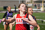 Challis freshman Hannah Cain finishes first in the YMCA Track and Field Invite 400 meter final on April 28, 2012 at Rocky Mountain High School, Meridian, Idaho. Cain posted a winning time 58.66 followed by Rocky Mountain senior Jacarei Echevarria (59.29) and Lewiston freshman Emilee Schlader (59.83).