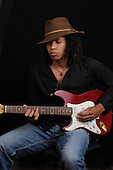 Stock Photo of Young Afro American Guitar Player
