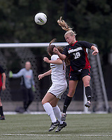 Boston College midfielder/defender Alicia Blose (13) and NC State midfielder Reilly Brown (19) battle for head ball. Boston College defeated North Carolina State,1-0, on Newton Campus Field, on October 23, 2011.