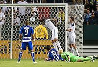 CARSON, CA – August 6, 2011: LA Galaxy defender Omar Gonzalez (4) making his goal shot during the match between LA Galaxy and FC Dallas at the Home Depot Center in Carson, California. Final score LA Galaxy 3, FC Dallas 1.