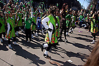 Students from PS 59 perform their step dancing at the Sunnyside Queens St. Patrick's Day Parade on March 5, 2006. Started as an alternative to the NYC parade, the organizers have endeavoured to make the parade inclusive allowing gays and lesbians to march who were banned from the NYC parade. (© Richard B. Levine)