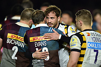 Danny Cipriani of Wasps embraces Nick Evans of Harlequins after the final whistle. Aviva Premiership match, between Harlequins and Wasps on April 28, 2017 at the Twickenham Stoop in London, England. Photo by: Patrick Khachfe / JMP