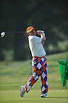Golfer John Daly tees off on the second hole at the PGA FedEx St. Jude Classic at TPC Southwind in Memphis, Tenn. on Thursday, June 9, 2011.