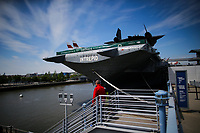NEW YORK, NY - May 04:  People walk in front of the Intrepid Sea, Air and Space Museum before President Donald Trump arrive to city on May 04, 2017. in New York. U.S. president Trump will meet Australian Prime Minister Malcolm Turnbull on the 75th anniversary of the Battle of the Coral Sea by US and Australian forces against the Japanese In New York City. Photo by VIEWpress/Eduardo MunozAlvarez