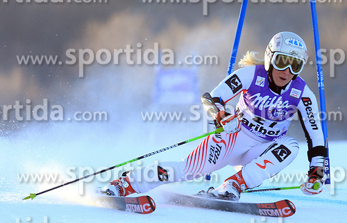 Eva-Maria Brem of Austria skiing in first run Maribor women giant slalom race of Audi FIS Ski World Cup 2008-09, in Maribor, Slovenia, on January 10, 2009. (Photo by Vid Ponikvar / Sportida)