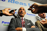 MLS Commissioner Don Garber is interviewed at halftime. The men's national team of the United States (USA) was defeated by Ecuador (ECU) 1-0 during an international friendly at Red Bull Arena in Harrison, NJ, on October 11, 2011.