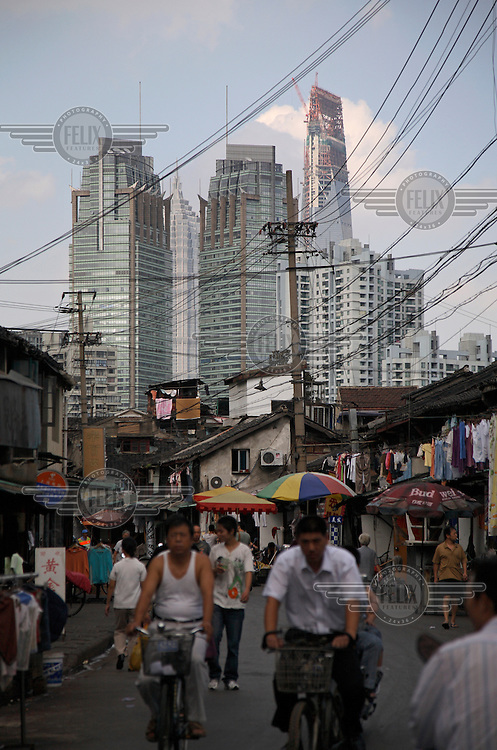 A view of new developments from an old neighborhood in Shanghai.
