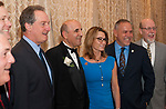 SOUTHINGTON,  CT-051617JS01- Retired State legislature Selim Noujaim, poses for a photo with legislatures Rep. John E. Piscopo, R-Thomaston; House Republican Leader Themis Klarides, R-Derby; Speaker of the House Joe Aresimowicz, D-Berlin and Sen. Joe Markley, R-Southington, as he was honored during a roast Tuesday at the Aqua Turf in Southington. The event honored his year of service to the state and the city of Waterbury. Money raised from the event will benefit the Noujaim/Rizk Memorial Scholarship at Sacred Heart High School which was founded in memory of Selim's parents. <br />  Jim Shannon Republican-American