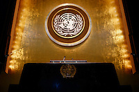 NEW YORK, USA - SEPT 14, View of the podium at General Assembly Hall in the United Nations Headquarters during preparations for the 71st General Assembly in New York on September 14, 2016. photo by VIEWpress