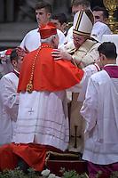 cardinal, archbishop of Tlanepantla in Mexico, Carlos Aguiar Retes,,  Pope Francis, during a consistory at Peter's basilica. Pope Francis has named 17 new cardinals, on November 19, 2016