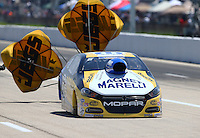 Apr 25, 2015; Baytown, TX, USA; NHRA pro stock driver Allen Johnson during qualifying for the Spring Nationals at Royal Purple Raceway. Mandatory Credit: Mark J. Rebilas-