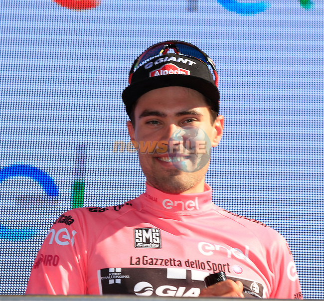 Tom Dumoulin (NED) Team Giant-Alpecin retains the leader's Maglia Rosa at the end of Stage 2 of the 2016 Giro d'Italia running 190km from Arnhem to Nijmegen, , The Nethrerlands. 7th May 2016.<br /> Picture: Eoin Clarke   Newsfile<br /> <br /> <br /> All photos usage must carry mandatory copyright credit (&copy; Newsfile   Eoin Clarke)