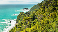 Coastal views with native bush near Haast, West Coast, South Westland, UNESCO World Heritage Area, New Zealand, NZ