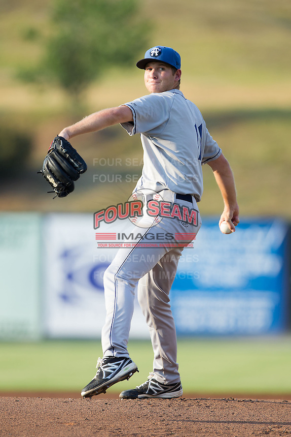 Asheville Tourists starting pitcher Konner Wade (11) in action against the Kannapolis Intimidators at CMC-NorthEast Stadium on July 12, 2014 in Kannapolis, North Carolina.  The Tourists defeated the Intimidators 7-5 in 15 innings.  (Brian Westerholt/Four Seam Images)