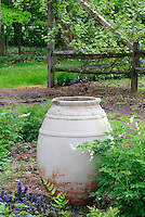 Ornamental urn container art in shade garden area with Dicentra spectabilis 'Alba' white bleeding heart in spring at Burpee