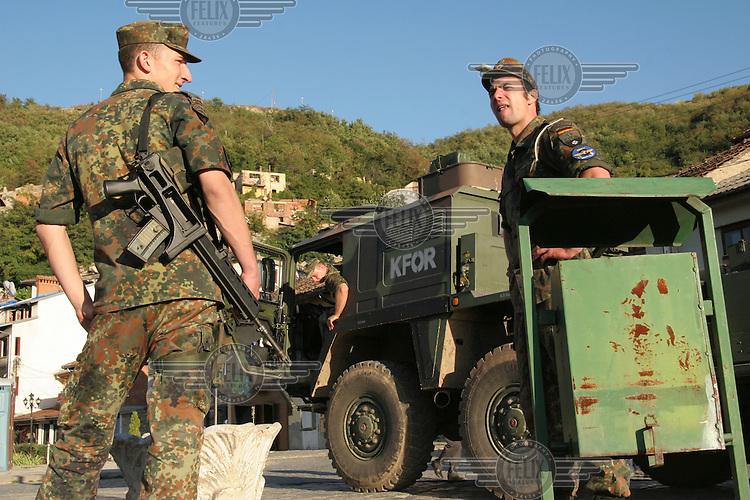 German NATO KFOR peacekeeping soldiers in Prizren.
