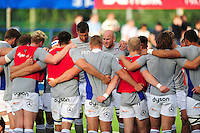 Matt Garvey of Bath Rugby speaks to his team-mates during the pre-match warm-up. Pre-season friendly match, between Leinster Rugby and Bath Rugby on August 26, 2016 at Donnybrook Stadium in Dublin, Republic of Ireland. Photo by: Patrick Khachfe / Onside Images