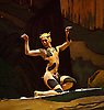 Boston Ballet <br /> at the Coliseum, London, Great Britain <br /> 3rd July 2013 <br /> rehearsal <br /> <br /> Afternoon of a Faun <br /> by Vaslav Nijinsky<br /> <br /> <br /> Altan Dugaraa as Faun<br /> <br /> Lorna Feijoo as Nymph <br /> <br /> <br /> Photograph by Elliott Franks