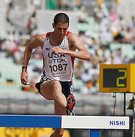 Tom Brooks  ran 8:56.20 in the 1st. round of the 3000m steeplechase on Sunday, August 26, 2007. Photo by Errol Anderson,The Sporting Image.