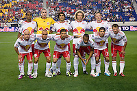 The Red Bulls line up before the game at Red Bull Arena in Harrison, NJ.  The New York Red Bulls tied the Columbus Crew, 1-1.
