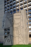 Bust of Sylvette, by Pablo Picasso, University Village, Silver Towers, designed byI.M. Pei, Manhattan, New York City, New York, USA