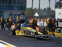 Mar 18, 2017; Gainesville , FL, USA; NHRA top fuel driver Tony Schumacher during qualifying for the Gatornationals at Gainesville Raceway. Mandatory Credit: Mark J. Rebilas-USA TODAY Sports